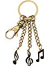 3 Charm Music Notes Keychain (Gold)